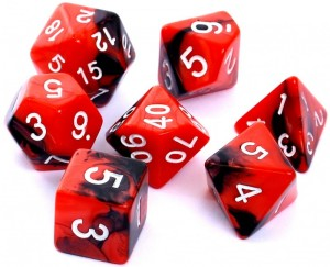 RPG DICE SET - DUAL-COLOR: RED-BLACK