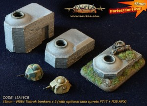 15mm 3 x Vf58c Tobruk bunkers (with optional tank turrets FT17 + R35 APX)