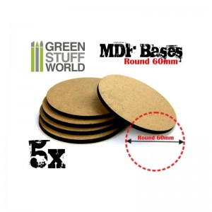 MDF ROUND BASE 60MM - PACK 5