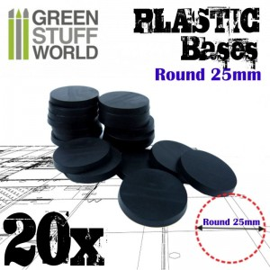 PLASTIC ROUND BASE 25MM (20)