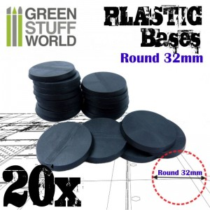 PLASTIC ROUND BASE 32MM (20)