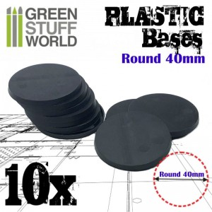 PLASTIC ROUND BASE 40MM (10)