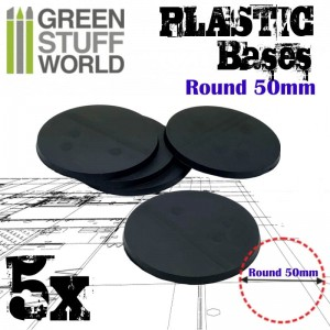 PLASTIC ROUND BASE 50MM (5)