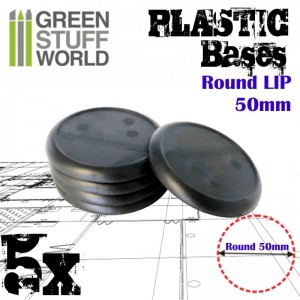 PLASTIC ROUND BASE WITH LIPS 50MM - PACKx5