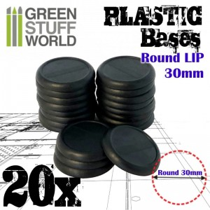 PLASTIC ROUND BASE WITH LIPS 30MM - PACKX20