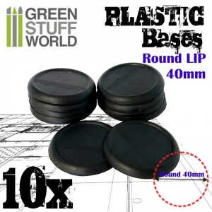 PLASTIC ROUND BASE WITH LIPS 40MM - PACKX10