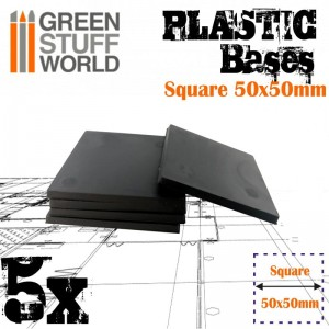 PLASTIC SQUARE BASE 50MM - PACKx5