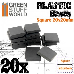 PLASTIC SQUARE BASE 20MM - PACKx20