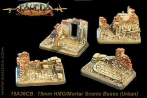 15mm 4 different HMG/mortar scenic bases (urban)