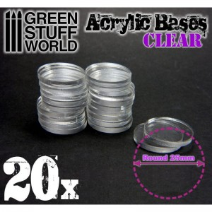 ACRYLIC ROUND BASE 25MM - CLEAR (20)