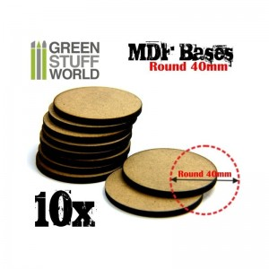 MDF ROUND BASE 40MM - PACK 10