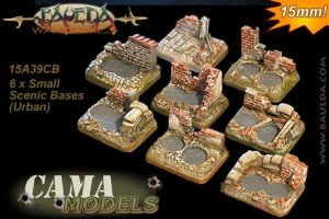 15mm Scenic Bases - 6 different 2 holes small  (urban)