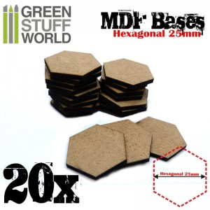 MDF Bases - Hexagonal 25 mm