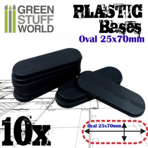 Plastic Bases - Oval Pill 25x70mm BLACK