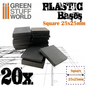 PLASTIC SQUARE BASE 25MM - PACKx20