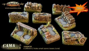 15mm 6 different small scenic bases (rural)