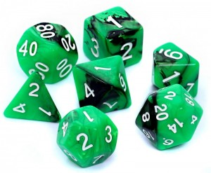 RPG DICE SET - DUAL-COLOR: GREEN-BLACK