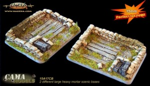 15mm 2 different large heavy mortar scenic bases