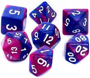 RPG DICE SET - DUAL-COLOR: NAVY BLUE-VIOLET