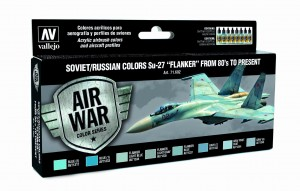 ZESTAW AIR WAR 8 FARB - SOVIET / RUSSIAN COLORS SU-27 FLANKER FROM 80 TO PRESENT