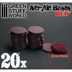 ACRYLIC ROUND BASE 25MM - RED (20)