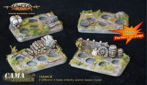 15mm 4 different 4 holes Infantry scenic bases (rural)