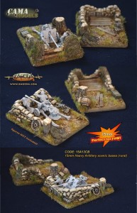 15mm 2 different Heavy Artillery scenic bases (rural)