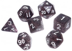 RPG DICE SET - GLITTERING - BLACK