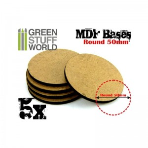 MDF ROUND BASE 50MM - PACK 5