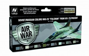 ZESTAW AIR WAR 8 FARB - SOVIET / RUSSIAN COLORS MIG-29 FULCRUM FROM 80 TO PRESENT