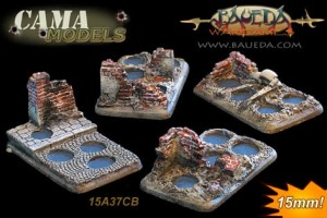 15mm 4 different 4 holes infantry scenic bases (urban)