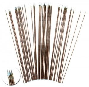 100MM SPEARS. THICKER WIRE FOR 28MM FIGURES. (40)