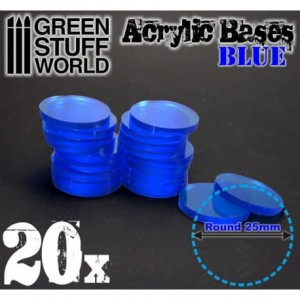 ACRYLIC ROUND BASE 25MM - BLUE (20)