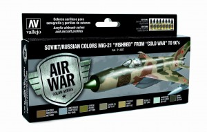 ZESTAW AIR WAR 8 FARB - SOVIET / RUSSIAN COLORS MIG-21 FISHBED FROM 50 TO 90