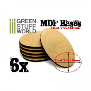 MDF OVAL BASE 75X46MM - PACK 6