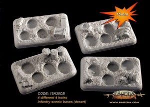 15mm 4 different 4 holes Infantry scenic bases (desert)