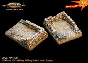 15mm 2 different Heavy Artillery scenic bases (desert)
