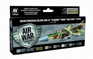 ZESTAW AIR WAR 8 FARB - SOVIET / RUSSIAN COLORS MIG-23 FLOGGER FROM 70 TO 90