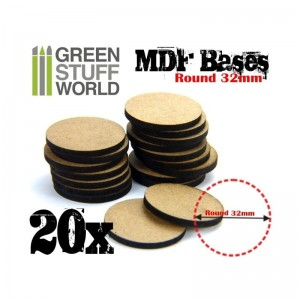 MDF ROUND BASE 32MM - PACK 20