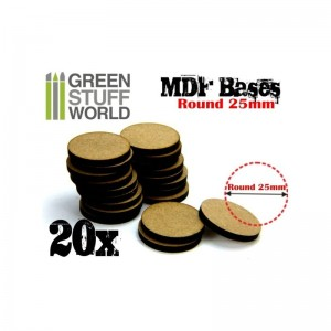MDF ROUND BASE 25MM - PACK 20